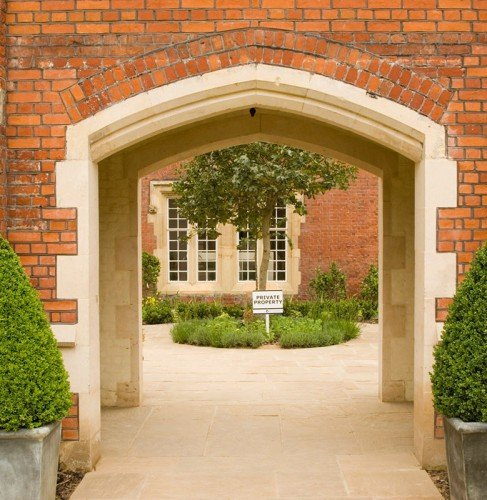 clean cast stone archway