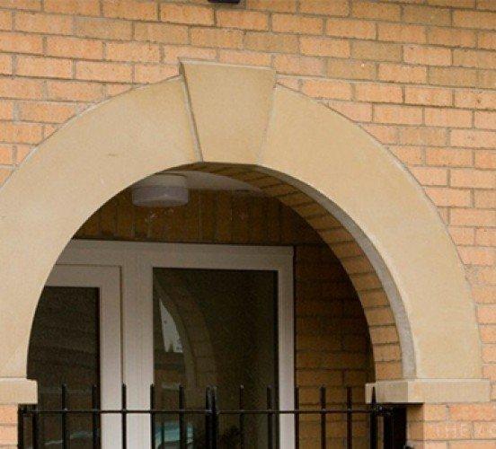 Curved Stone Window Mullion Close Up