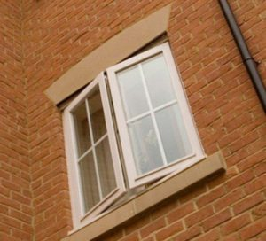 Upstairs stone window sill